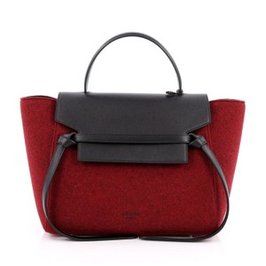 Céline Leather Satchel in Red and Black