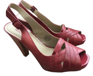 Kenneth Cole High Heels Ankle Straps Leather Red Pumps