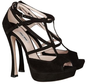 Miu Miu Suede Strappy Strappy Sandals Black Platforms