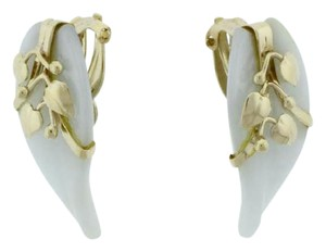 Other STEAL + STUNNING 14k Gold Whitish Jadeite carved leaf clip earrings