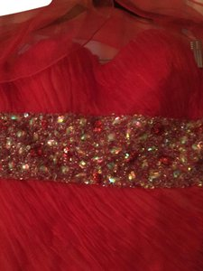Nina Canacci Coral Polyester W/ Beads & Sequins 2261 Formal Bridesmaid/Mob Dress Size 8 (M)