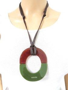 Hermès Multi Layered Resin Leather Necklace w/ Gift Box