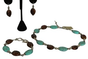 Premier Designs Premier Designs Turquoise & Brown Necklace bracelet Earring SARASOTA