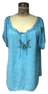 Lucky Brand Bohemian Hippie Turquoise Shirt Embroidered Tunic