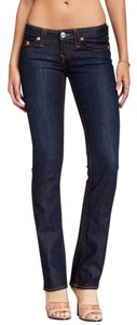 True Religion Casual Denim Cotton Fitted Vintage Straight Leg Jeans-Dark Rinse