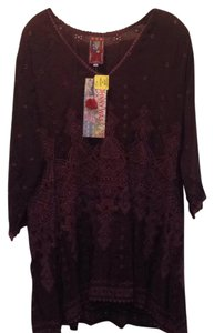 Johnny Was Embroidered V-neck Rayon 3/4 Sleeve High Low Hem Tunic