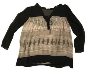 Joie Silk Black Black Top Black/Grey