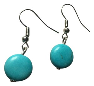 Anthropologie Round Turquoise Stone Dangle Earrings