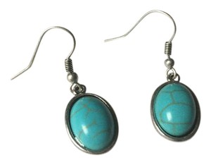 Anthropologie Oval Turquoise Silver Dangle Earrings
