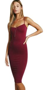 Free People short dress Rich berry Slip Stretchy Tight Fitting Fitted on Tradesy
