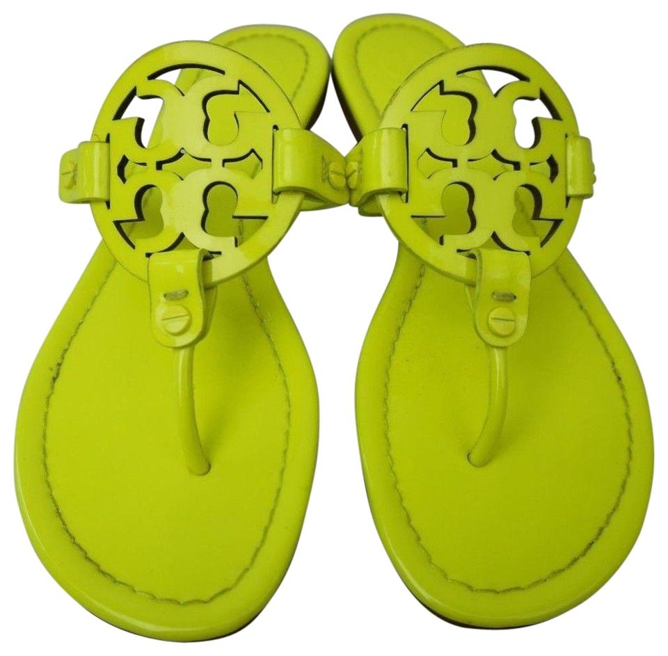 9a19cc99e Tory Burch Neon Yellow Miller Flip Flops Hot Patent Leather Sandals ...