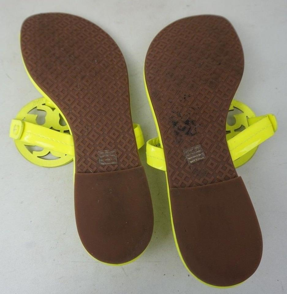 6bc5dabafcd84 Tory Burch Neon Yellow Miller Flip Flops Hot Patent Leather Sandals ...