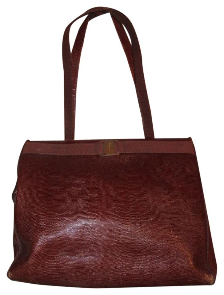 Salvatore Ferragamo Xl Satchel Tote Lizard Embossed Perfect For Everyday  Excellent Vintage Satchel in chestnut ... bb4dcb0d6bd33
