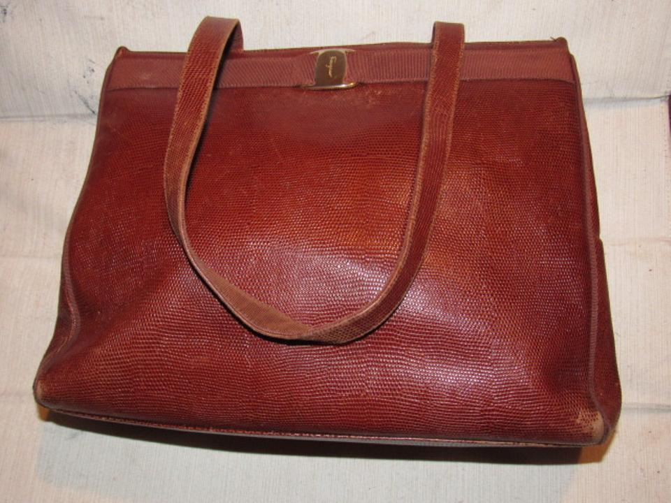 Salvatore Ferragamo Xl Satchel Tote Lizard Embossed Perfect For Everyday  Excellent Vintage Satchel in chestnut. 12345678 61f3bd7c6ca65
