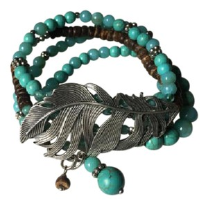 Lucky Brand Turquoise & Driftwood Multi band Feather Stretch Bracelet