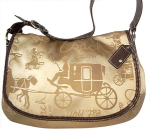 Coach Front Flap Sateen Horse Carriage Khaki and Tan Messenger Bag