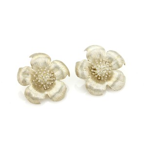 Tiffany & Co. #20385 Tiffany & Co. Sterling Large Dogwood Flower Clip On Earrings