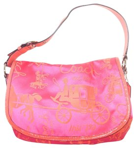 Coach Front Flap Sateen Horse And Carriage Hot pink Messenger Bag