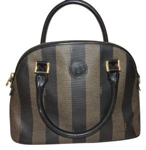 Fendi Mint Vintage M-l Size Unique Shape Print Satchel in Wide Tooacco Striped Coated Canvas & Brown leather
