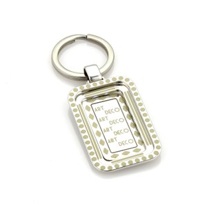 Roberto Coin Roberto Coin Art Deco Sterling & Enamel Dog Tag Double Frame Key ring