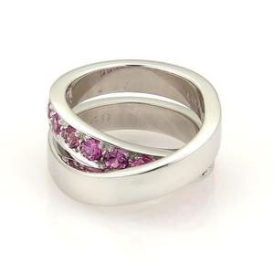 Cartier Nouvelle Vague 1.40ct Pink Sapphire 18k Gold Crossover Band Ring