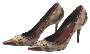 Gucci Studded Leather Monogram Canvas merlot and brown Pumps