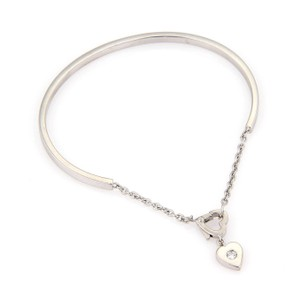 Cartier Mon Amour Diamond 18k White Gold Heart Bangle & Chain Bracelet