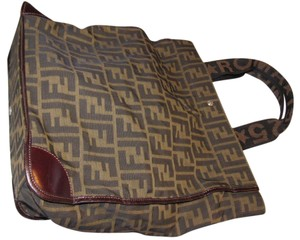 Fendi Mint Vintage Collapsible Multi-purpose Great For Travel Tote in Large F logo print Canvas & Brown leather