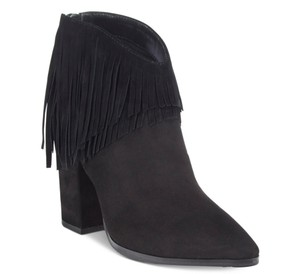 Kenneth Cole Reaction Suede Fringe Hem Ankle Black Boots