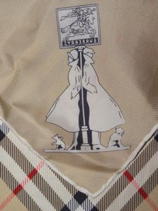 Burberry Vintage Burberry Nova Check Silk Scarf Trench Coat Dogs LOGO
