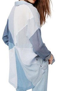 Free People Button Down Shirt blue combo