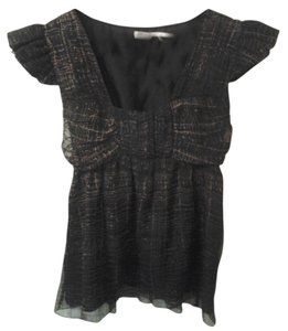 Max Studio Silk Leon Xs Top brown and black