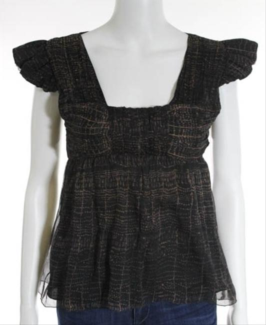 Max Studio Silk Leon Max Xs Abstract Natural Detail Cap Sleeve Flutter Sleeve Clearance Sale Top brown and black