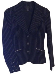 Arden B. Black Striped three-button suit jacket with zippered pockets