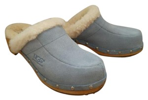UGG Australia Lined Baby Suede Slip On Sheepskin Blue Mules