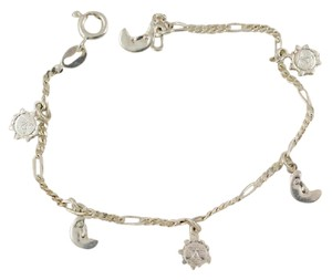 Other 925 Sterling Silver Sun Moon Charm Bracelet, 7