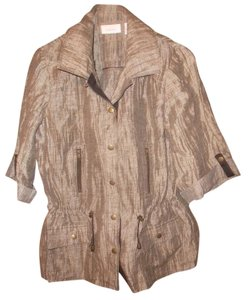 Chico's Linen Blend Snap Up Roll Sleeve Parka Design Nwot Tunic