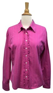 Lilly Pulitzer Striped Ruffle Stretch Fitted Shirt Button Down Shirt Pink