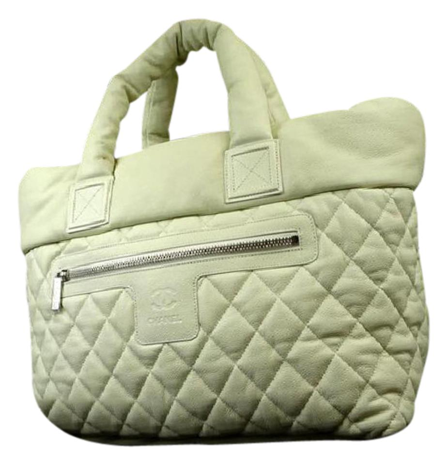 3e8f1343f8ad Chanel Cocoon Quilted Caviar 216668 White Leather Tote - Tradesy