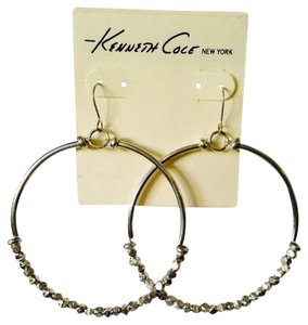 Kenneth Cole Silver-Tone Beaded Large Gypsy Hoop Earrings