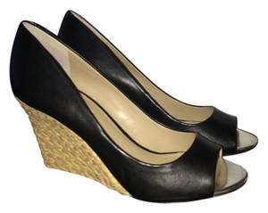 Charles David Peep Toe Wedge Espadrille Black Pumps