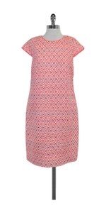 J.Crew short dress Neon Pink White Geo Print Shift on Tradesy