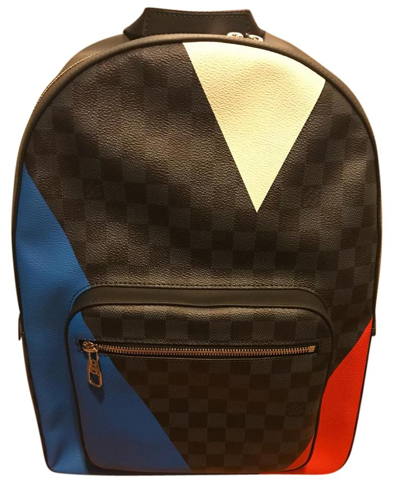 cb4a5c832d3b Josh N41612 Red White Blue Black Damier Coated Fabric Cowhide ...