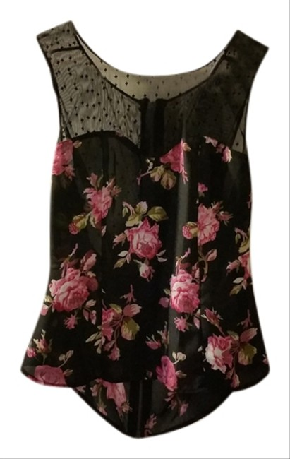 Reformed Lace Floral Black Top black/floral/multi