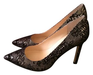 Ivanka Trump Evening Pointed Toe Black/Gold Lace Pumps