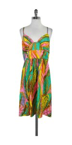 MILLY short dress Multi Color Print Silk Spaghetti Strap on Tradesy