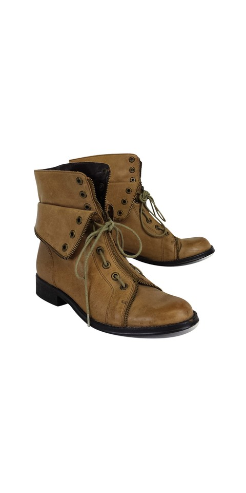 WOMEN Candela Tan Leather Combat workmanship Boots/Booties Perfect workmanship Combat b260f8
