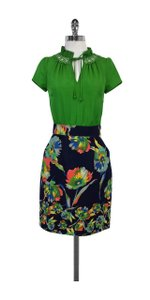 Anthropologie short dress Green & Navy Floral Print Short Sleeve on Tradesy