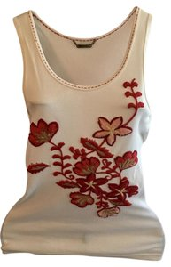 A.B.S. by Allen Schwartz Abs Top white with reds embroidery