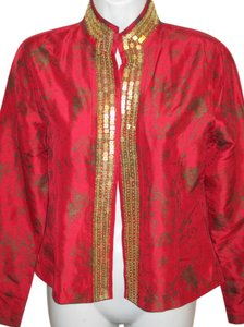 Chico's Sequin Embellished Silk Print Open Red and Gold Jacket
